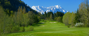 Stunning mountain backdrop to hole 5 at Golf Club Garmisch-Partenkirchen
